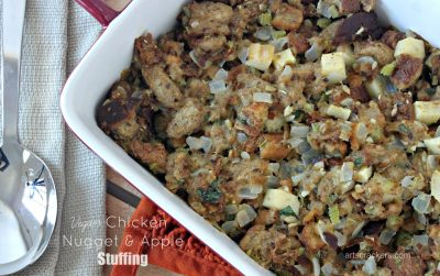 Vegan Chicken Nugget and Apple Stuffing Dish
