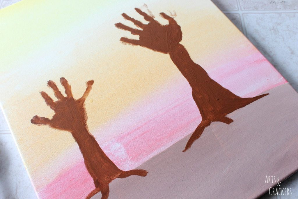 Arm and Handprint Fall Trees Canvas Step 4