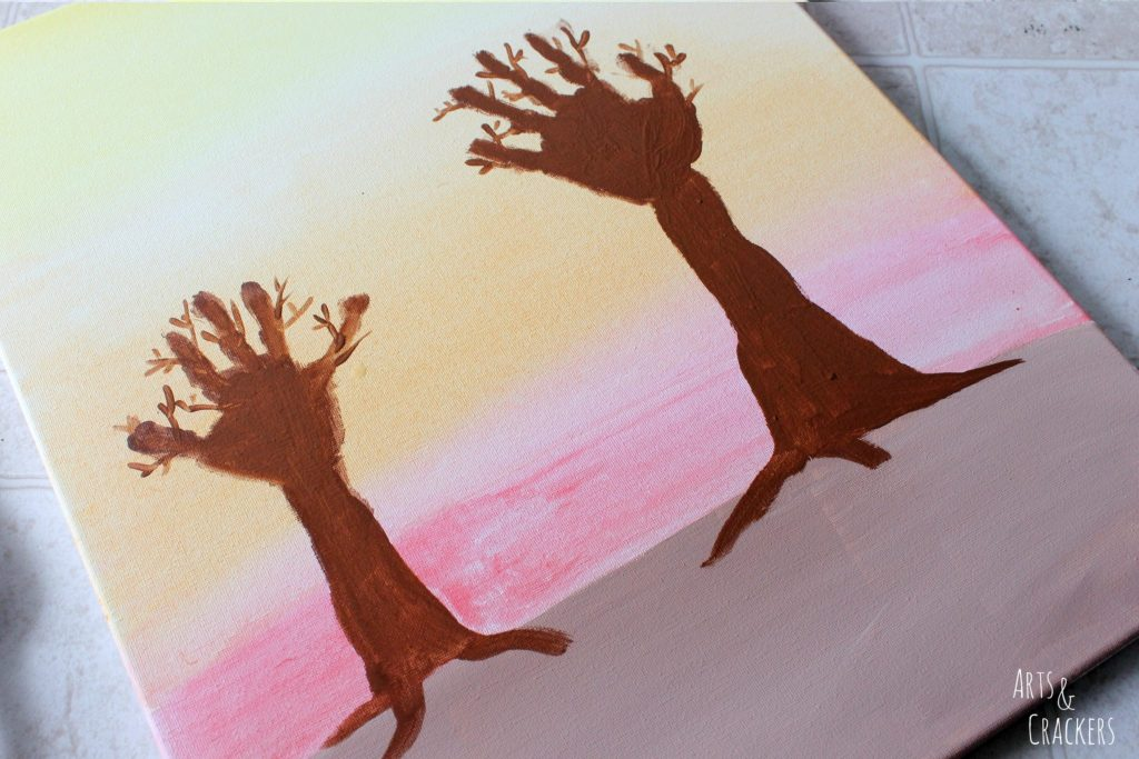 Arm and Handprint Fall Trees Canvas Step 5