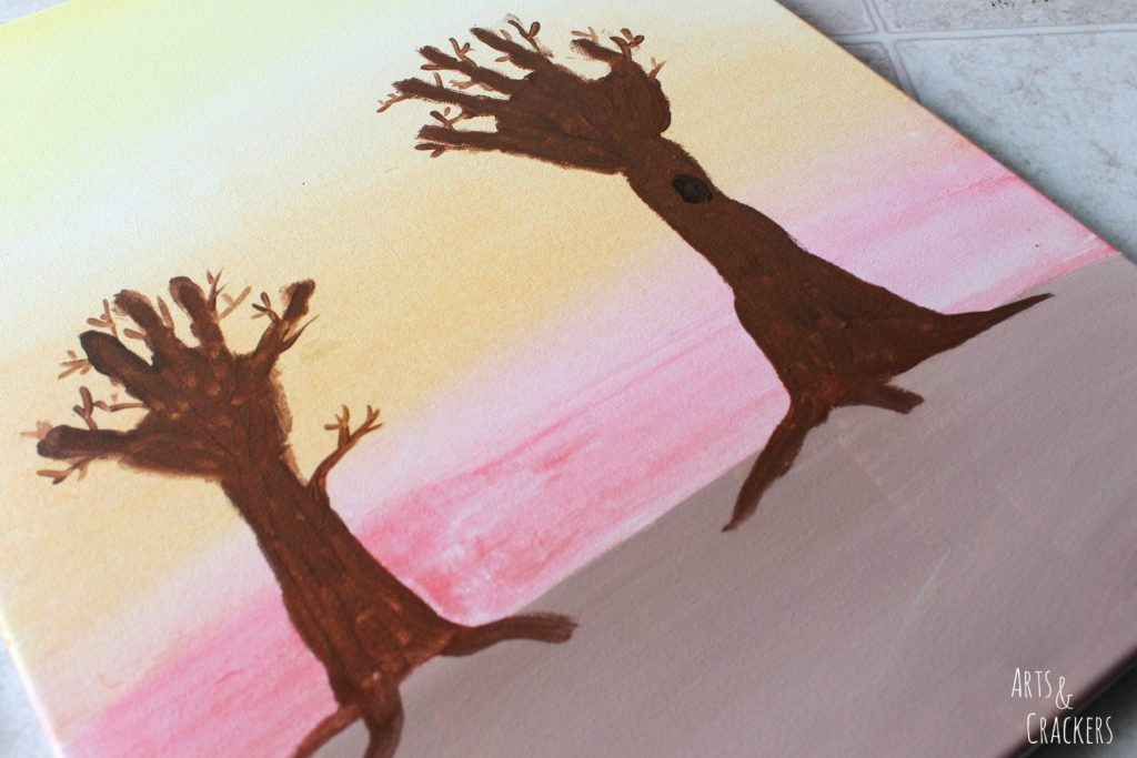 Arm and Handprint Fall Trees Canvas Step 6