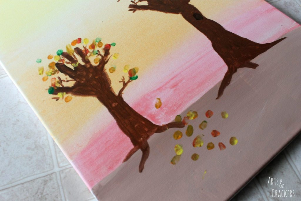 Arm and Handprint Fall Trees Canvas Step 7