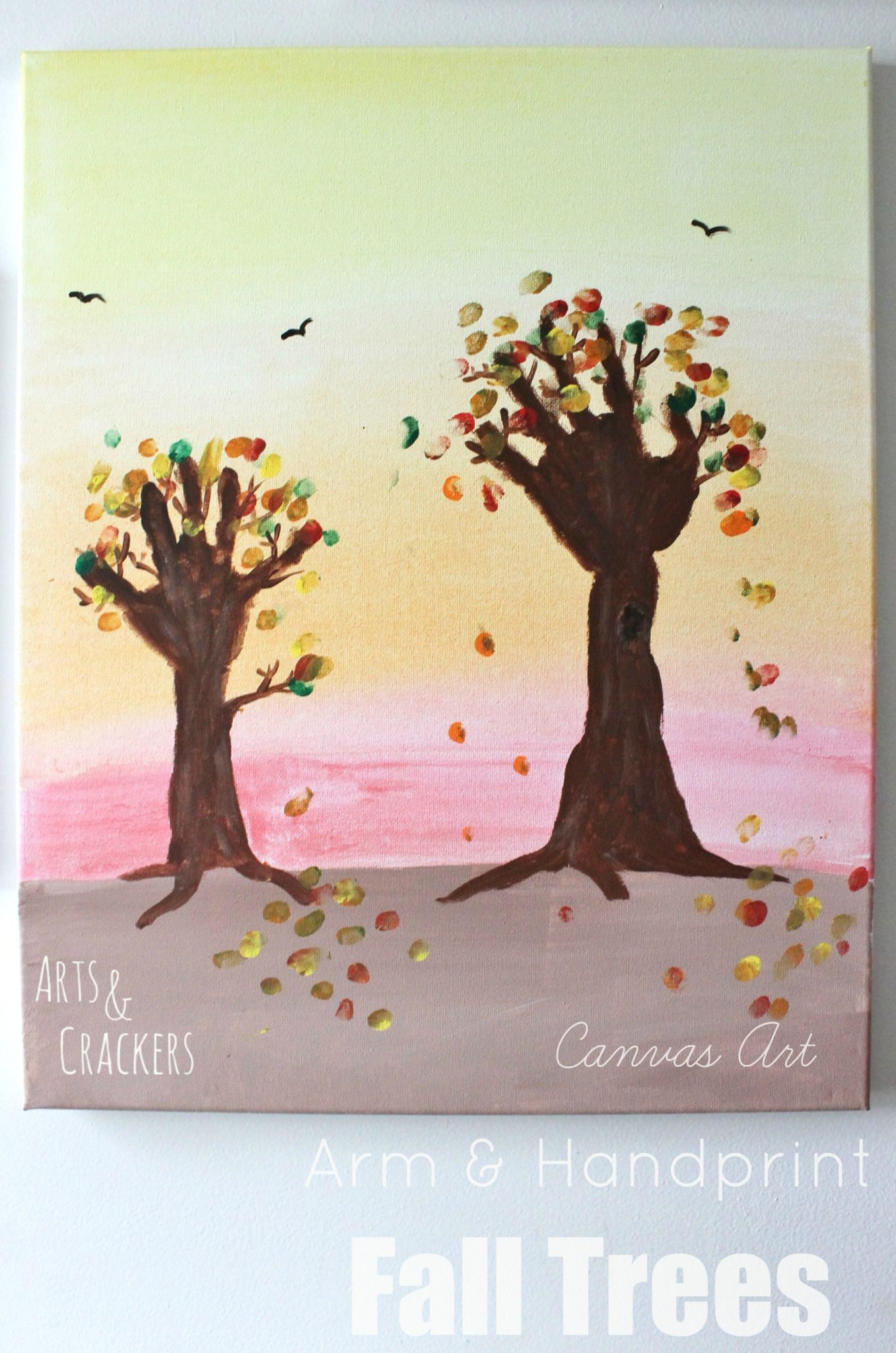 Arm and Handprint Fall Trees Canvas