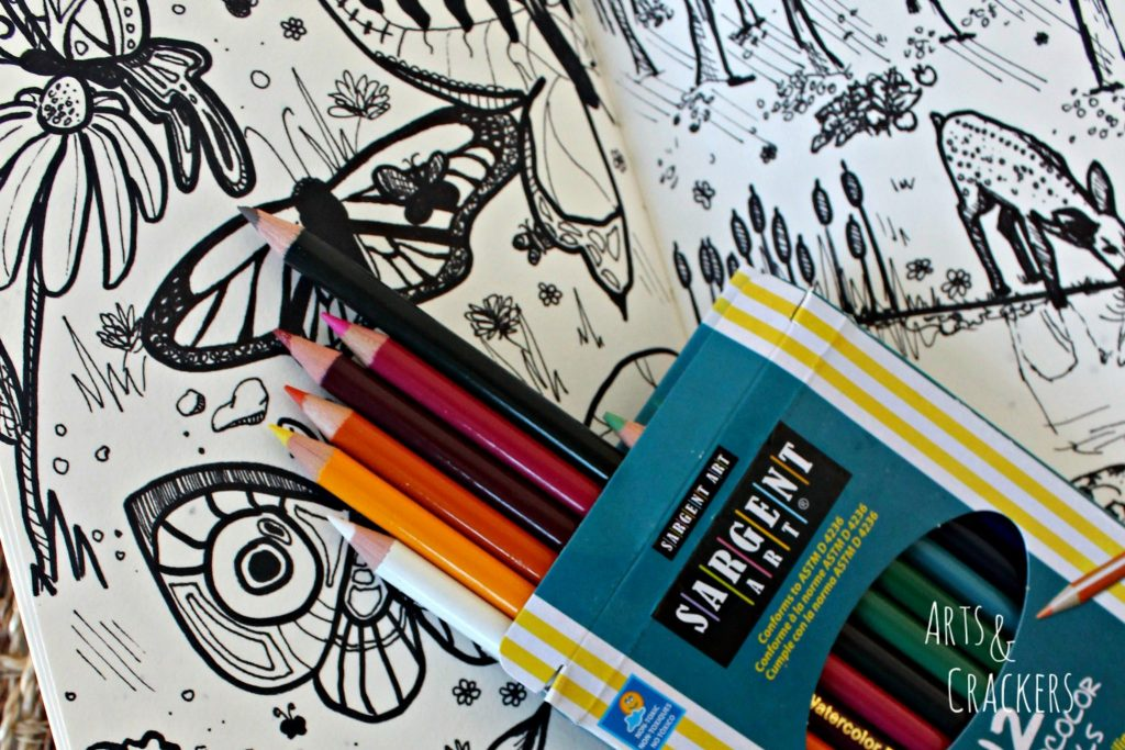 Doodle Coloring Book Detailed Woodland Drawing