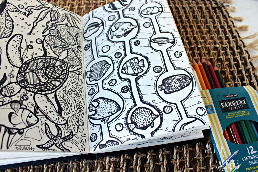 Doodle Coloring Book Underwater Detail