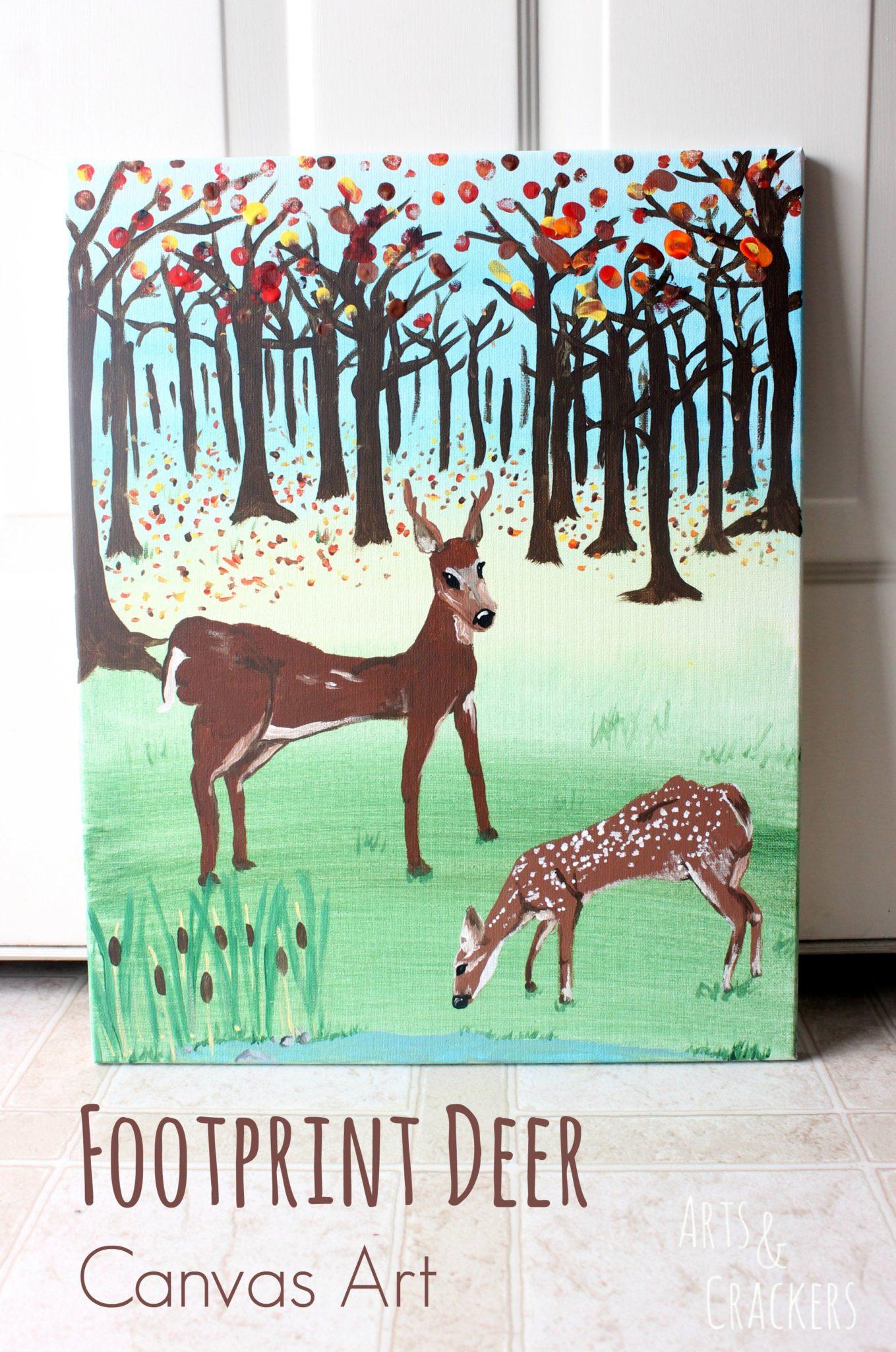 Footprint Deer Canvas Art