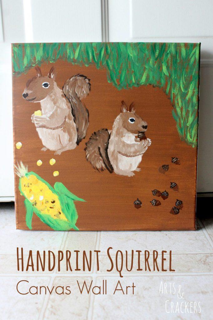 Handprint Squirrel Canvas Wall Art
