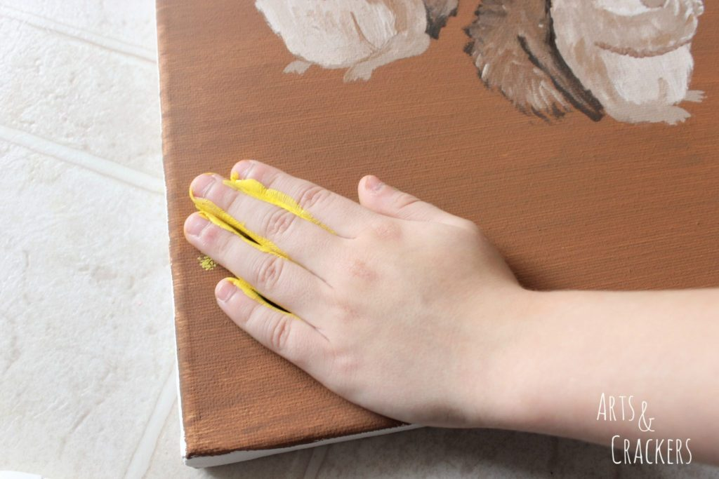 Handprint Squirrel Painting Step 14
