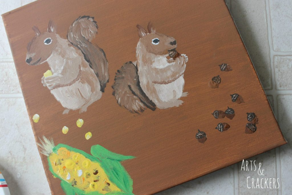 Handprint Squirrel Painting Step 16