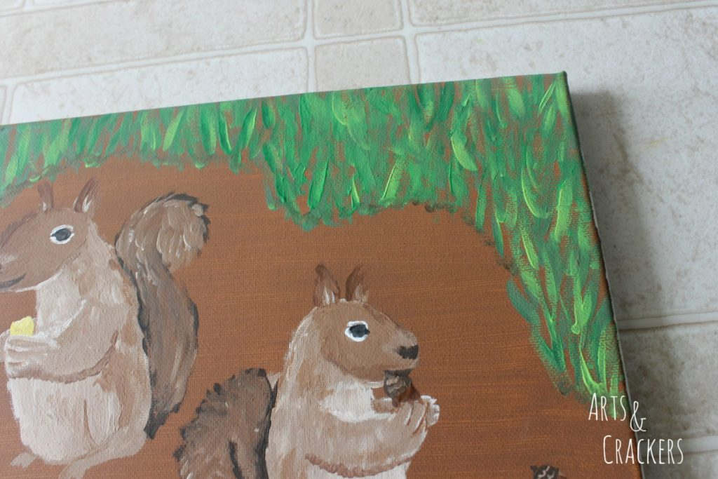 Handprint Squirrel Painting Step 17