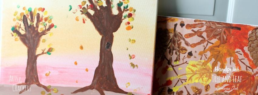Handprint Tree and Leaf Canvas Art