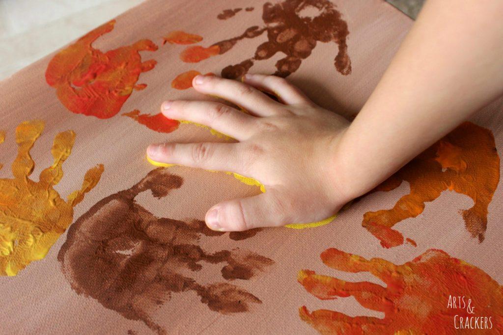 Handprint and Fingerprint Fall Collage Step 3