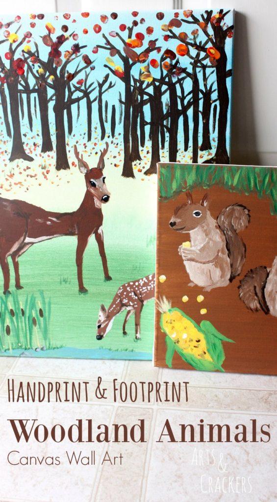 Handprint and Footprint Woodland Animals Canvas Wall Art