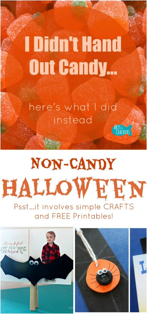 I didn't hand out candy this Halloween, but you'll love what I did hand out--Halloween crafts! Free printable in the post | Halloween | Trick or Treat | Printables | Non-Candy | Halloween Crafts | Crafts for Kids | Fall | Fall Crafts | Kids Activities | DIY Crafts | Craft Kits | Simple Crafts for Kids