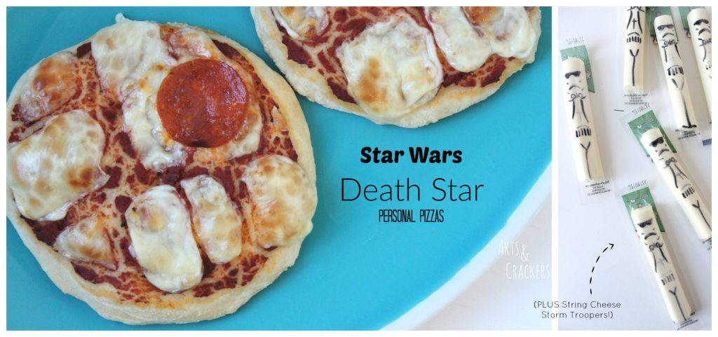 Star Wars Death Star Personal Pizzas and String Cheese Storm Troopers