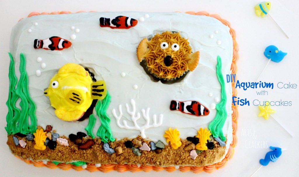 Aquarium Cake with Fish Cupcakes