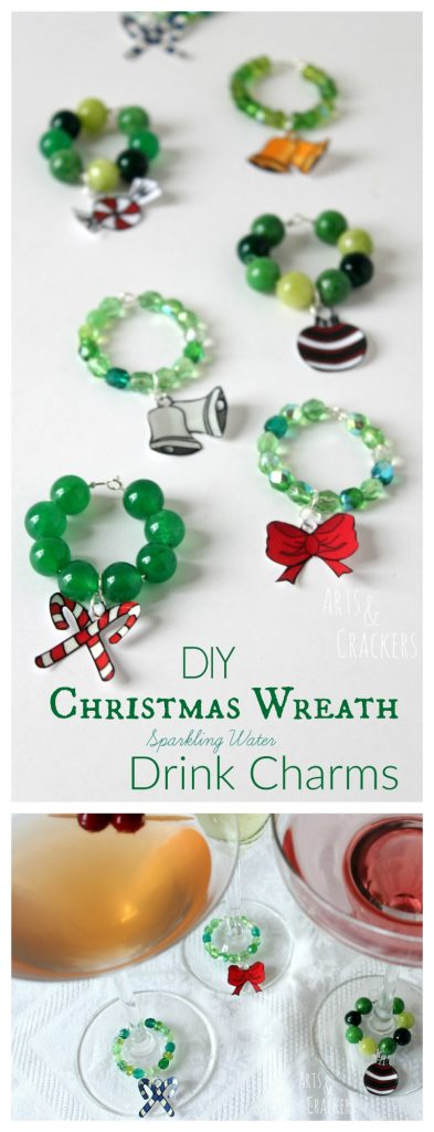 Charm your guests this Christmas with gourmet sparkling water drinks served in fancy glasses with these DIY drink charms shaped like Christmas wreaths! Follow this beaded stemware charms tutorial to make these beautiful dangling decorations.