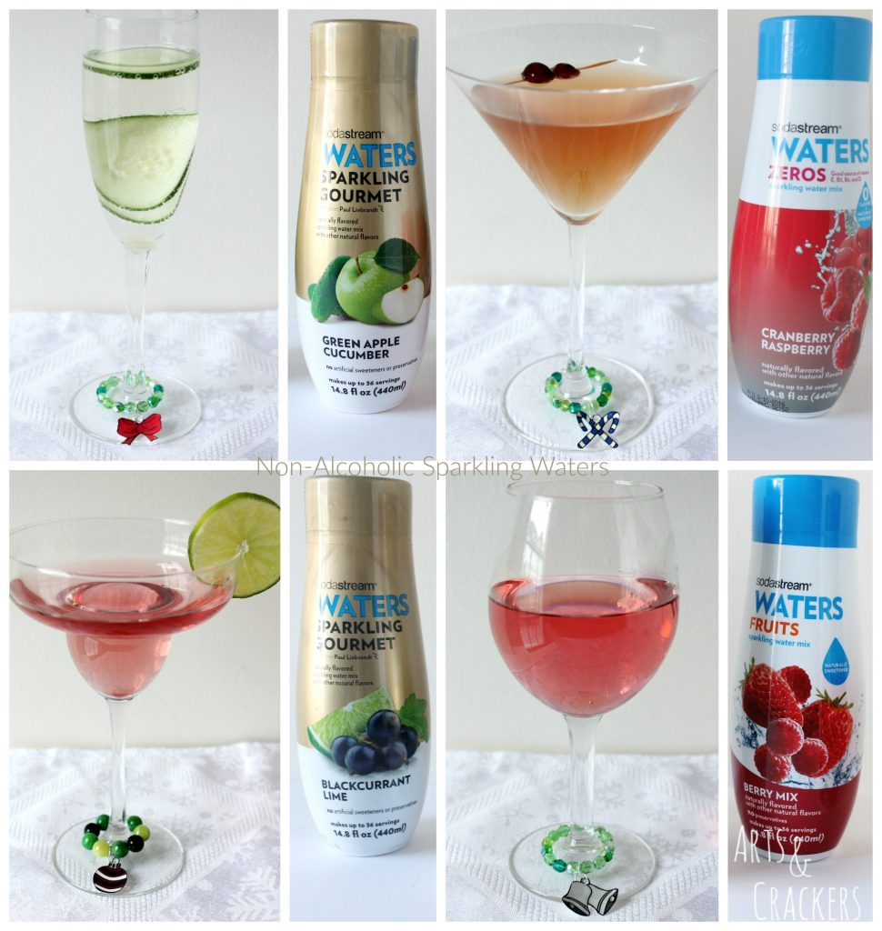 Christmas Wreath Stemware Charms with SodaStream Sparkling Water