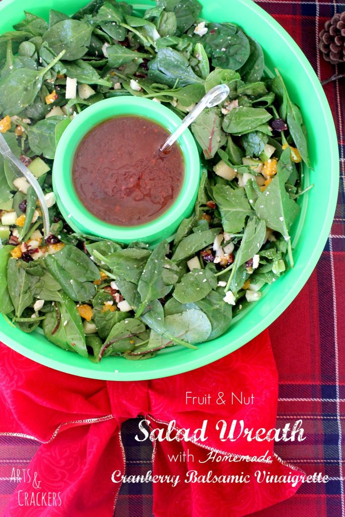 DIY Fruit and Nut Salad Wreath with Cranberry Balsamic Vinaigrette Dressing, the perfect appetizer for your Christmas dinner.