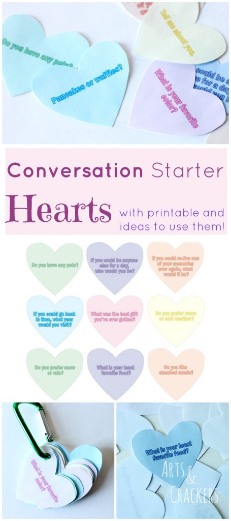 Want to be a Valentine's blessing to someone else? Need help starting conversations? You'll love these Conversation Starter Hearts! Free printable included and more available!