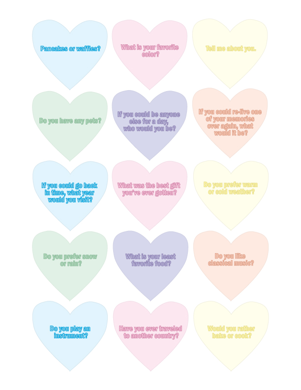 Printable Conversation Starter Hearts, Complete Collection