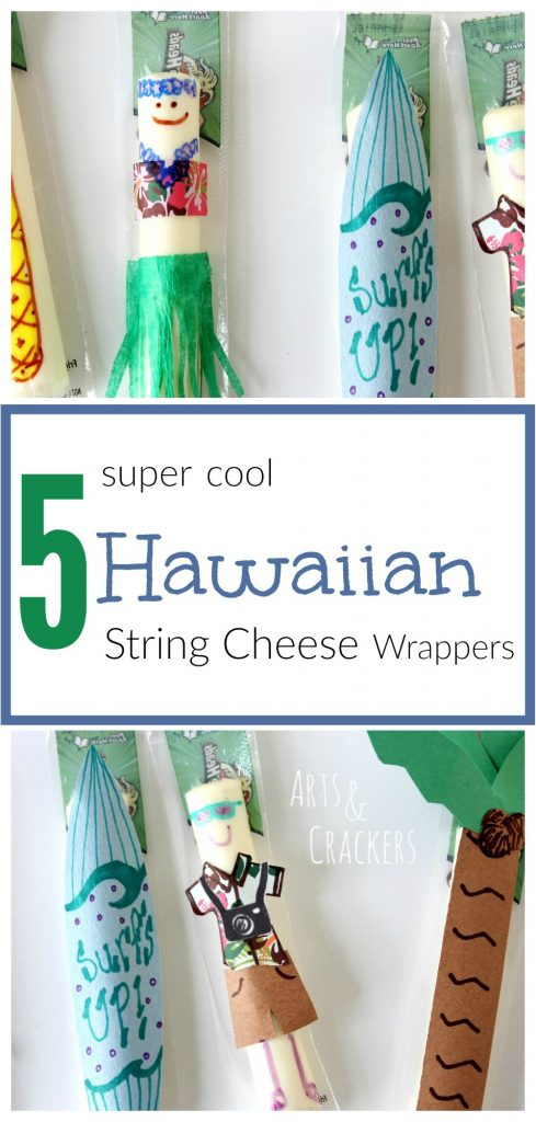 If you love Hawaii and tropical themes, you will adore these Hawaiian-themed string cheese wrappers! Create hula girl, tourist, surf board, pineapple, and palm tree string cheese wrappers. They make great snacks at home or for traveling!