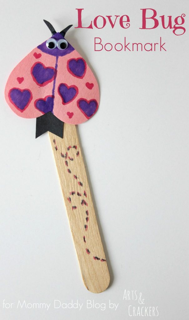 This adorable love bug bookmark is a fun and simple Valentine's Day craft for children and also makes a great Valentine's Day card to hand out in the classroom.