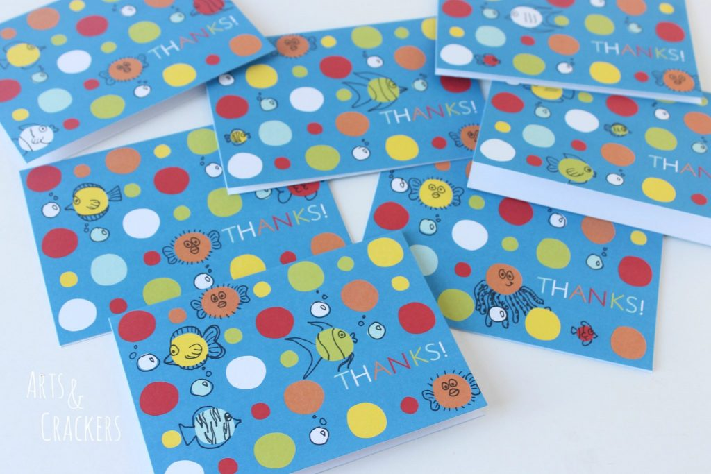 Ocean Themed Party Thank You Cards