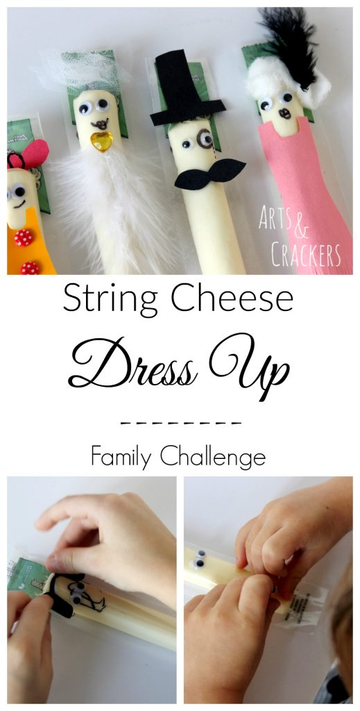 Gather your family and some supplies for this String Cheese Dress Up Activity craft challenge! ad