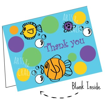 Printable Polka Dot and Fish Thank You Cards