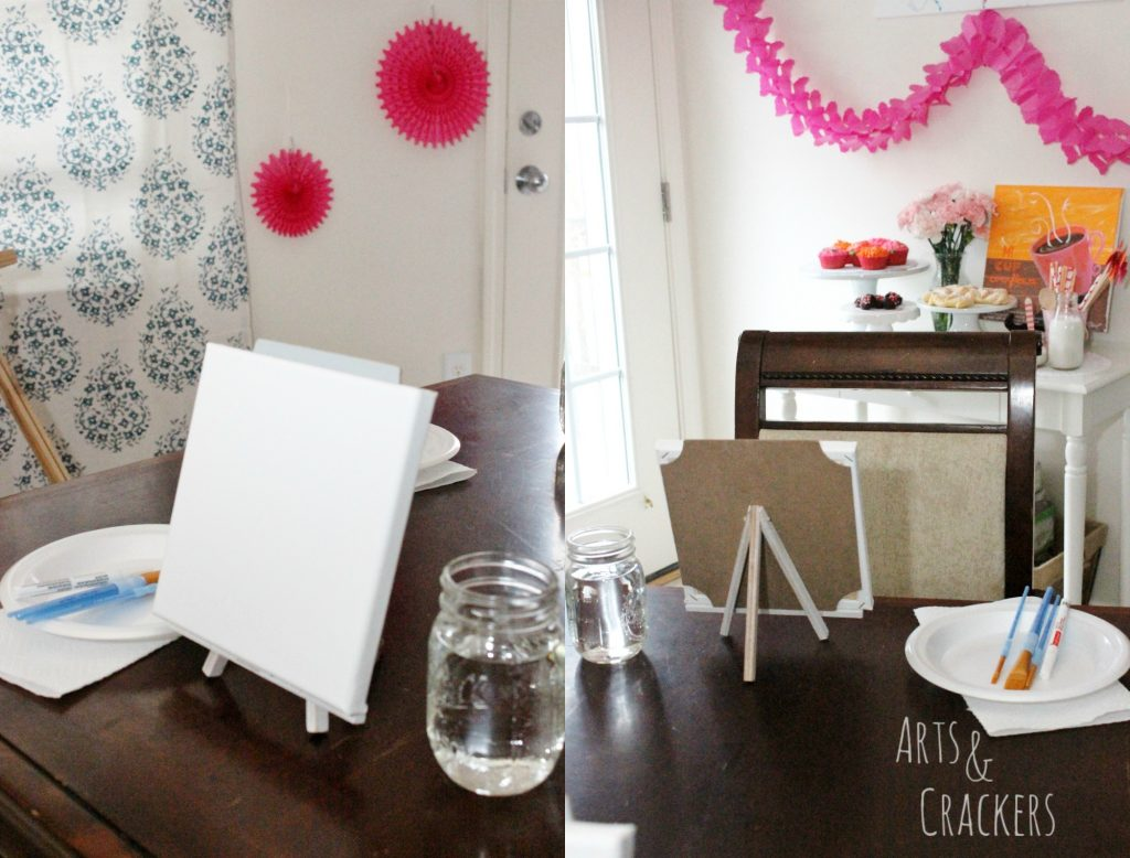 Coffee and Canvas Party Table Setup