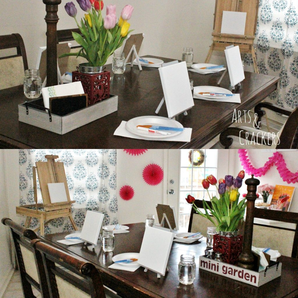 Coffee and Canvas Party Table Setup 2