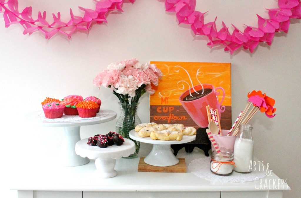 Coffee and Canvas Party Treat Table
