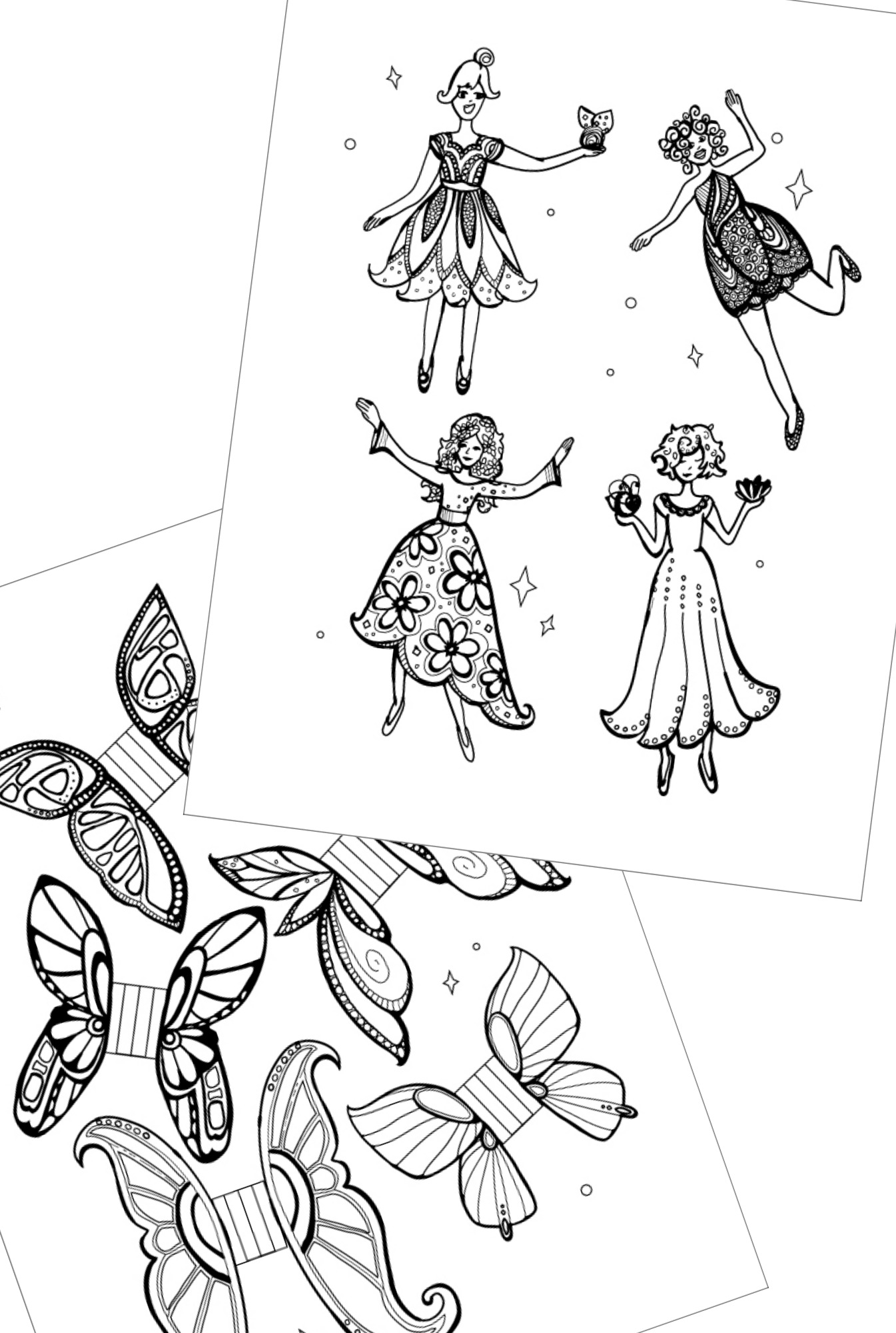 Printable 'Fairies and Wings' Coloring Pages You Can Cut Out