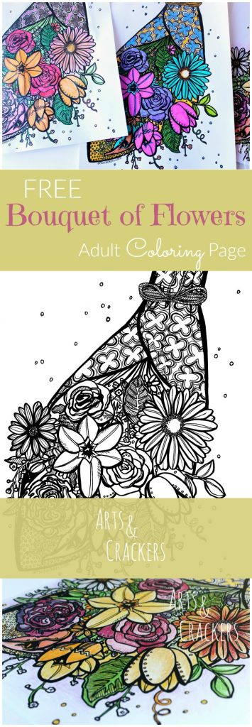 This free adult coloring page is sure to brighten up your day. Come print your detailed flower bouquet coloring sheet for some stress-relieving fun.