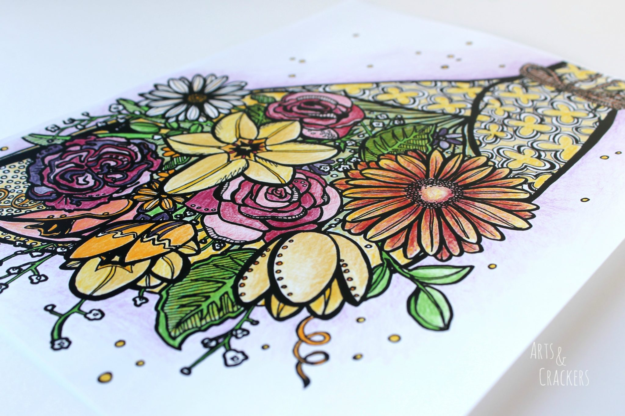 FREE Bouquet Adult Coloring Page