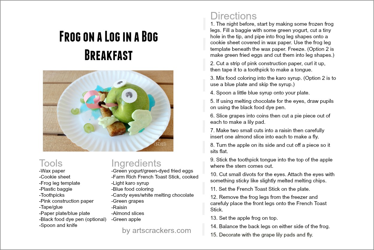 Printable 'Frog on a Log in a Bog' Breakfast Recipe Card