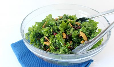 Kale Berry Salad Recipe | Massaged Kale | Cranberries | Salad with Fruit | Appetizer Recipes | Side Recipes | Healthy Recipes | Party Food | Healthy Eating | Kale Salad | Kale Recipes