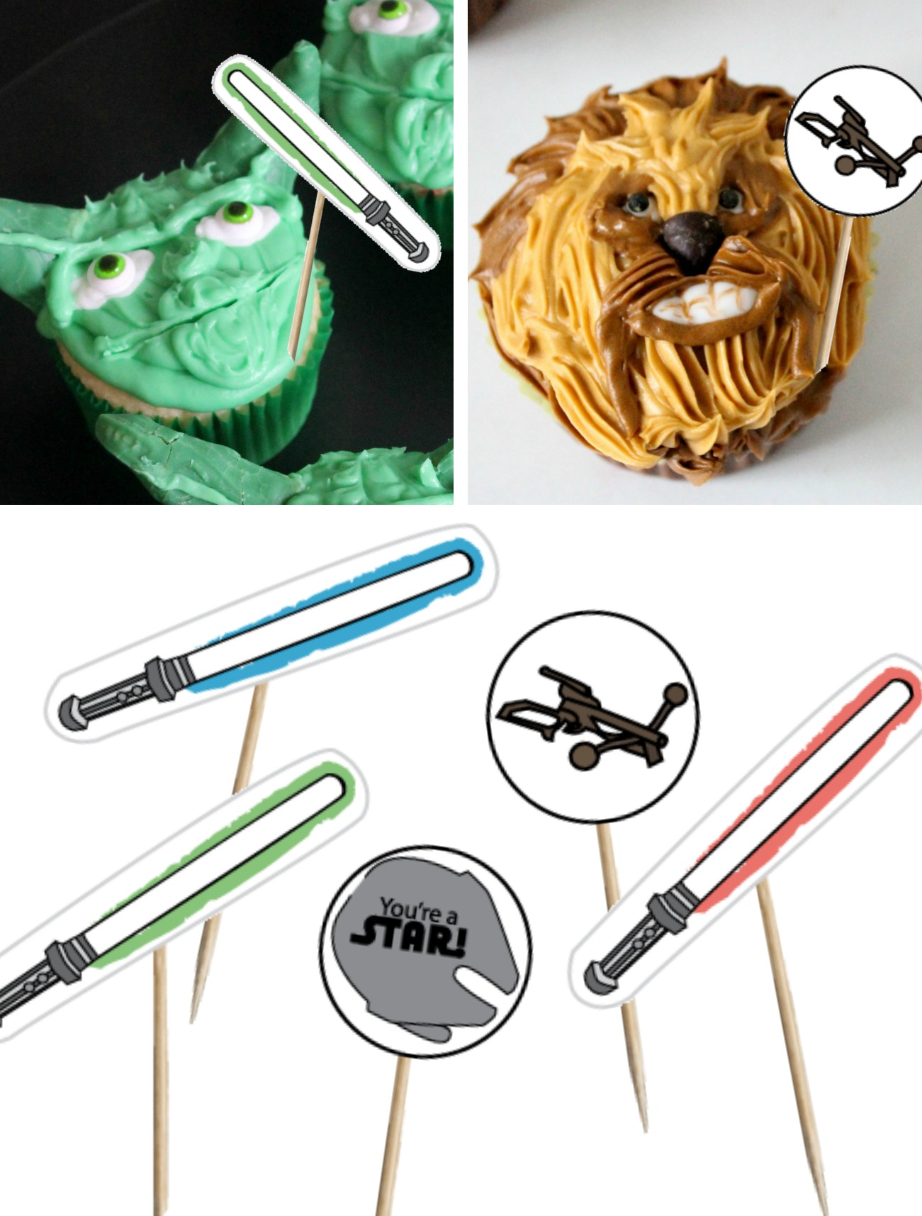 Printable Star Wars-Themed Cupcake Toppers