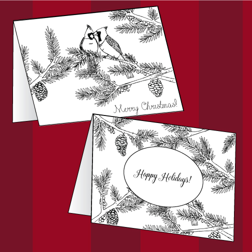 Printable 'Cardinals and Pine' Merry Christmas/Happy Holidays cards you can color