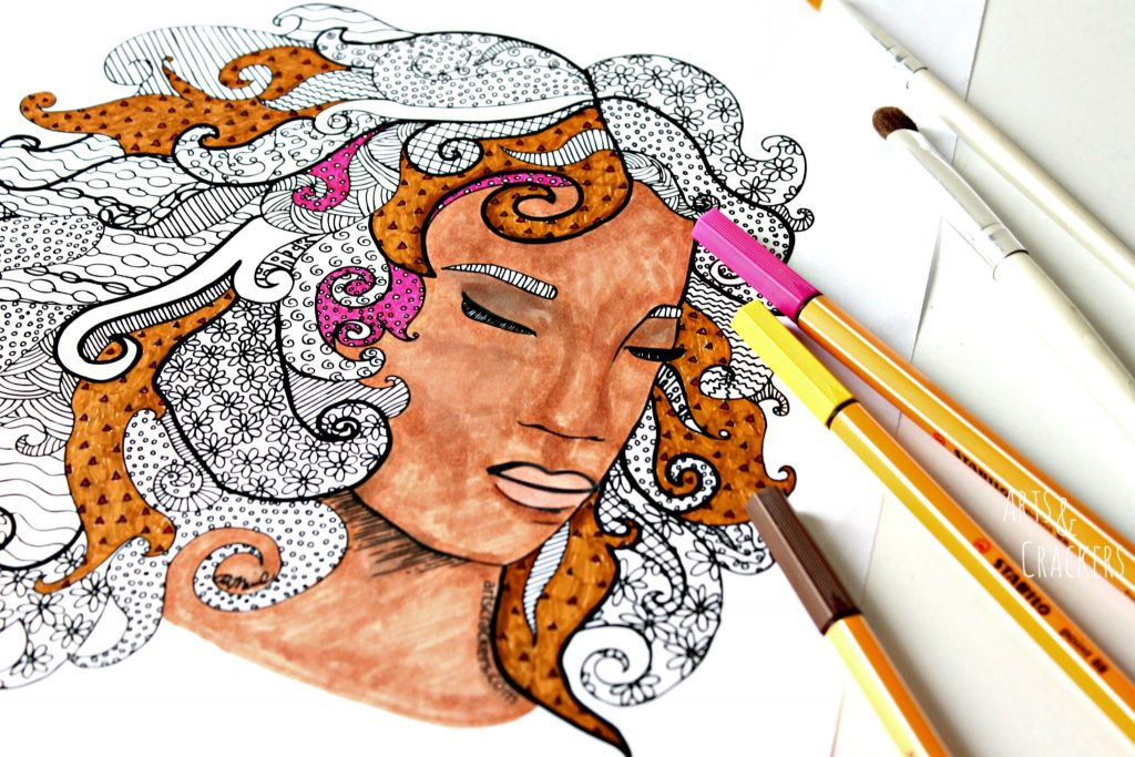 Big Hair Coloring Page Process
