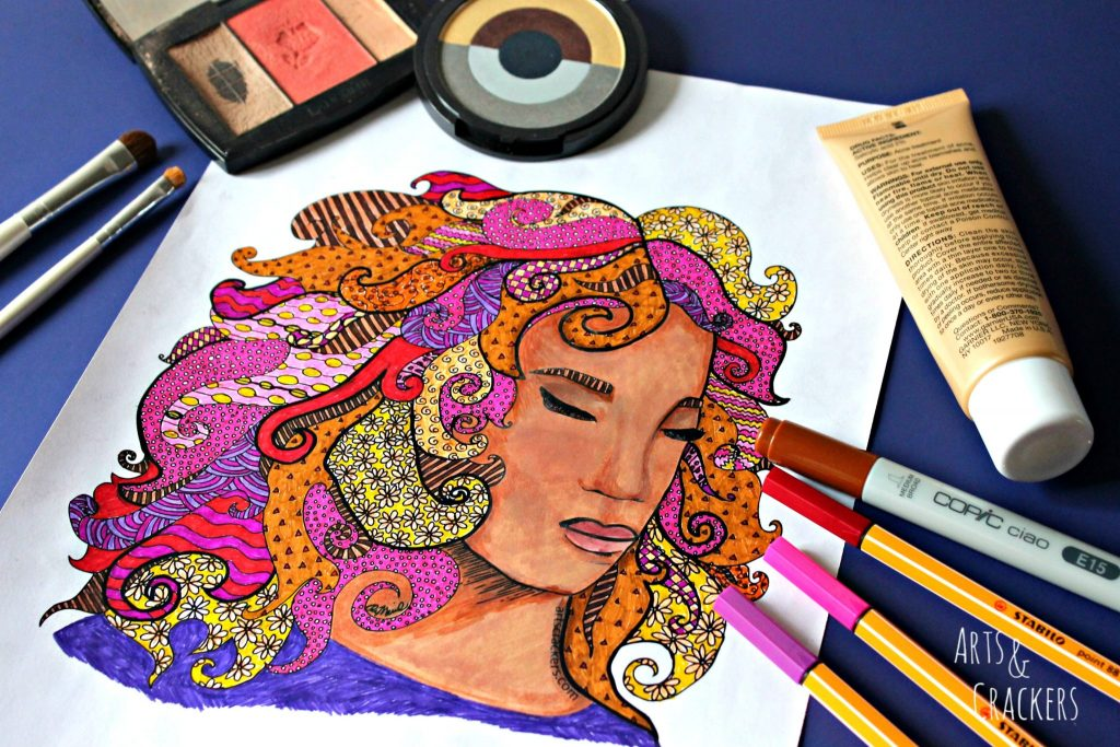 Faces Coloring Page Freebie Bright Colors