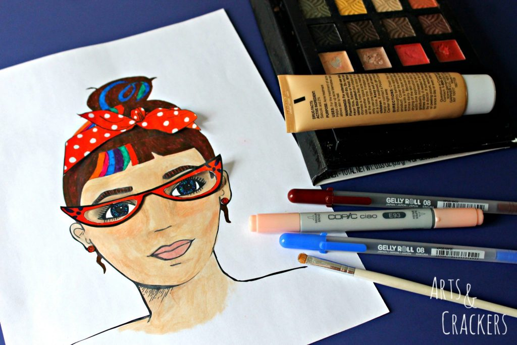 Faces Coloring Page with Accessories and Mediums