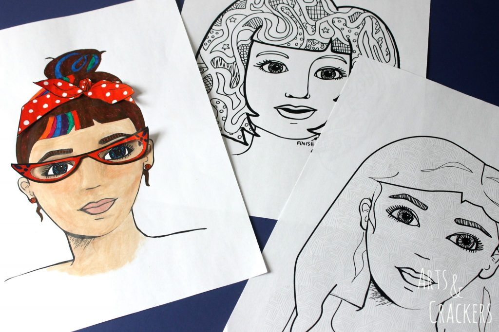 Faces Coloring Pages Set