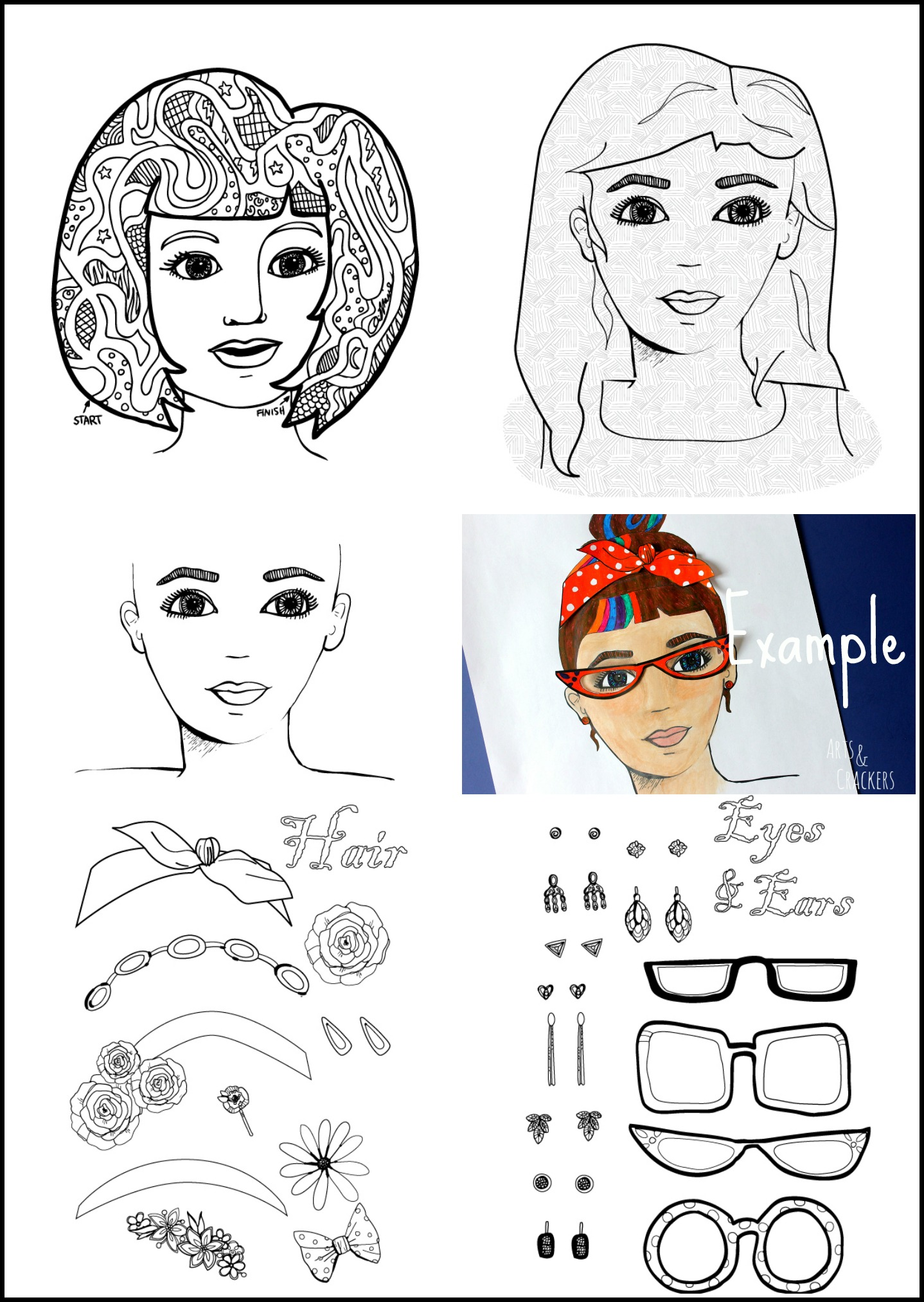 Printable 'Fab Faces' Adult Coloring Page Set