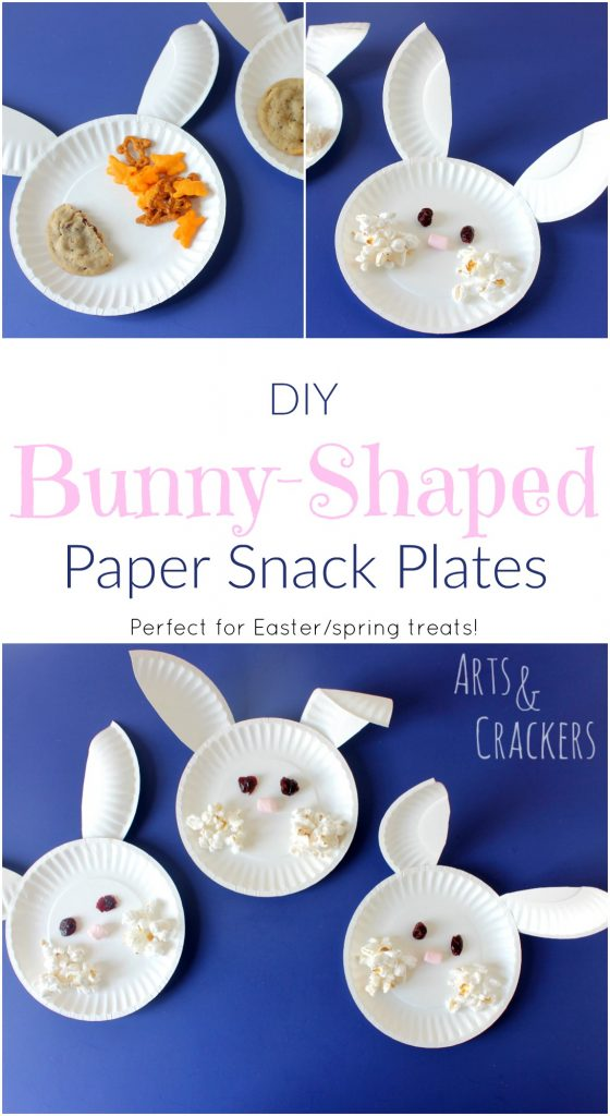 These paper plate bunnies are a fun way to serve Easter treats or spring snacks!