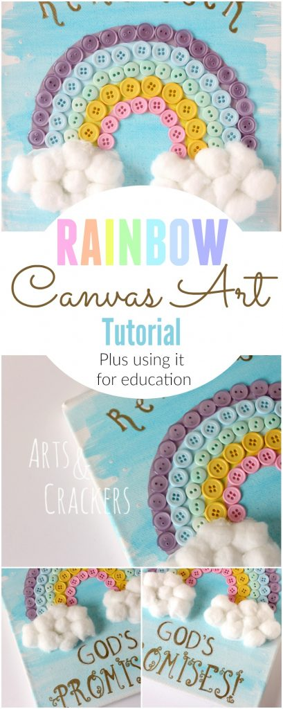 This rainbow canvas wall hanging is a great gift and collaborative art piece to complement your spring decor.