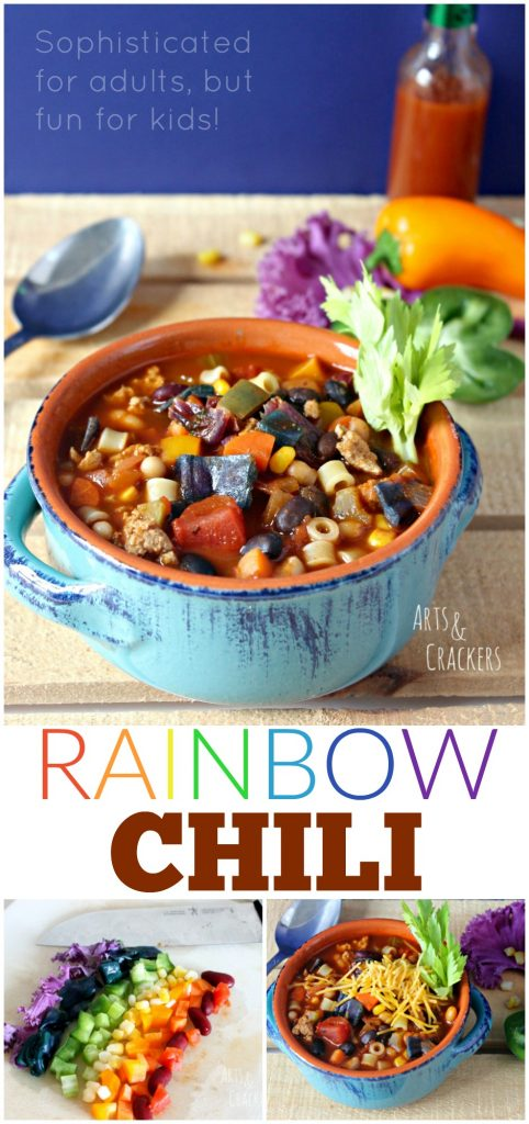 This hearty chili recipe is sophisticated for adults but is a kid-friendly dinner. This rainbow chili is vegetable-rich and colorful!