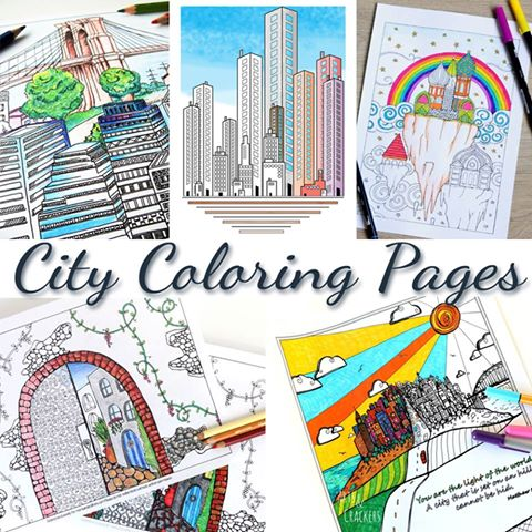 City Coloring Page Collage