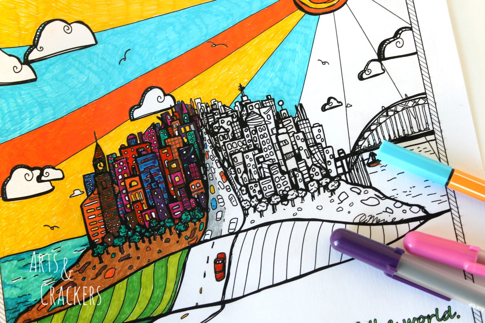 Free printable coloring pages for adults city -  Free Printable Adult Coloring Page Here City On A Hill Close Up