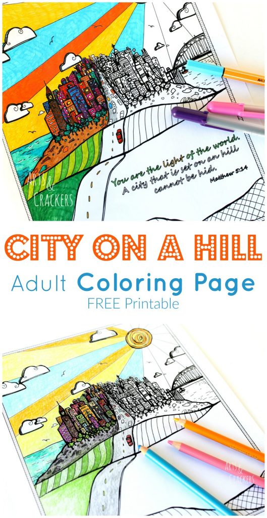 This City on a Hill adult coloring page is fun to color. It is a Bible verse coloring page and includes a version without a verse.